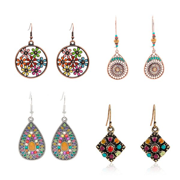 Maxi granny chic earrings set of 4 pairs, hot bohemian style earrings, fashion earring for cool girls, highlight your individuality