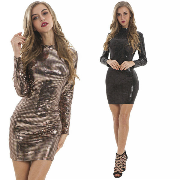 51c1d375ca92a9 Sequins Womens Dress Long Sleeve Party Nightclub Dresses Package Hip  Bodycon Dresses 2019 Hot New