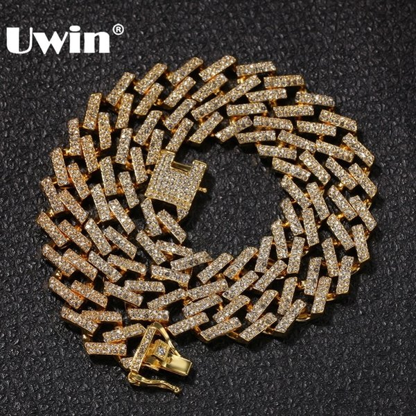UWIN Drop Shipping Fashion Iced Prong Cuban Link Chains Necklaces 15mm Mutil-Colored Blue/Black Rhinestones Hiphop Jewelry Mens T190907