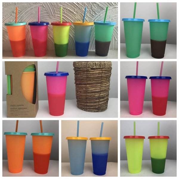 5pcs/lot Ins Cold Color Change Mug cup with Lid and Straw Food grade PP Magic Thermosensitive Cup Creative Gift Cups for Kids 700ml FFA2697