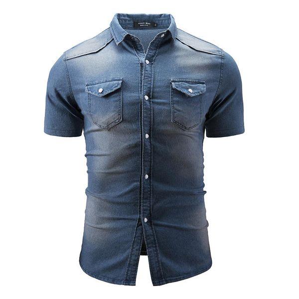 2019 Mens Fashion Denim Chest pockets Turn Down Collar Short Sleeve Loose Fit Shirts -3XL