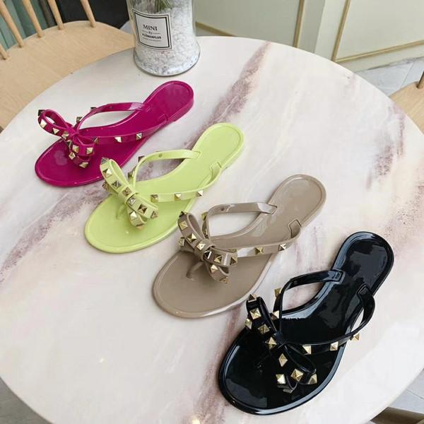 New Summer Women Flip Flops Slippers Flat Sandals Bow Rivet Fashion Pvc Crystal Beach slides size35-40