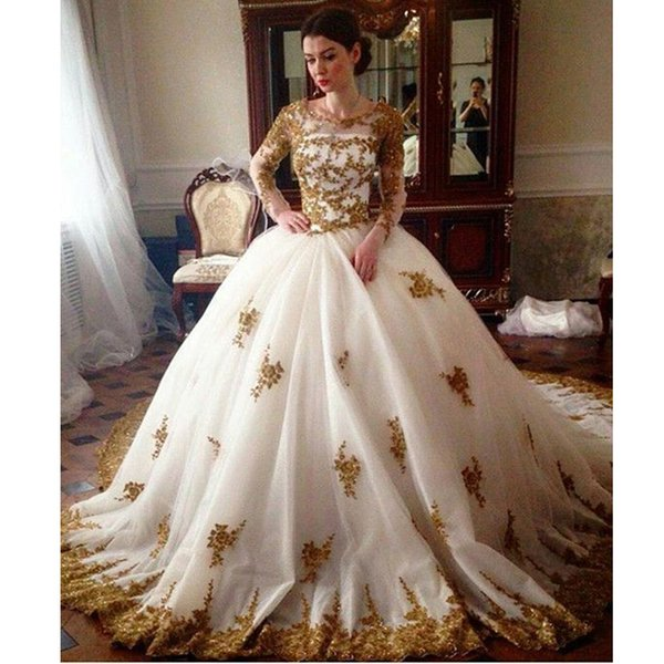 2019 Newest Charming Full Sleeve Gold Appliques Tulle Ball Gowns Wedding Dresses Quinceanera Dress For Teens