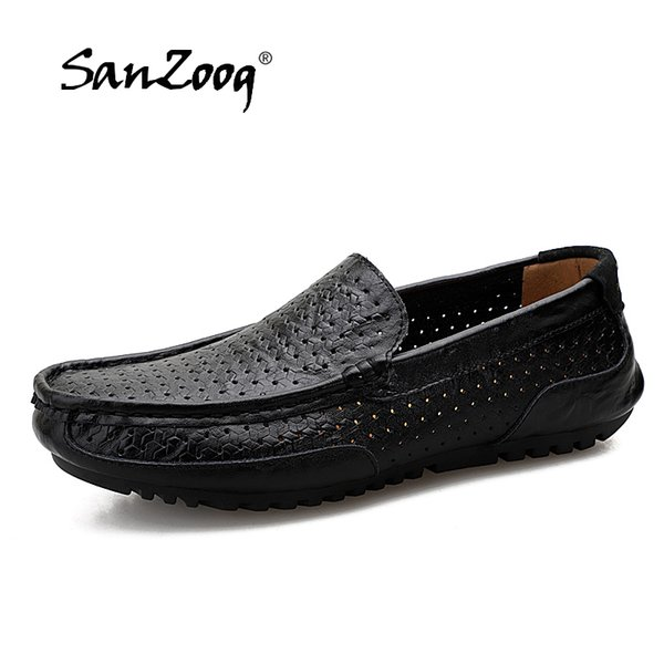 casual leather shoes men black blue man's shoe loafers summer men's loafer male moccasins footwear boat shoes driving slip-on