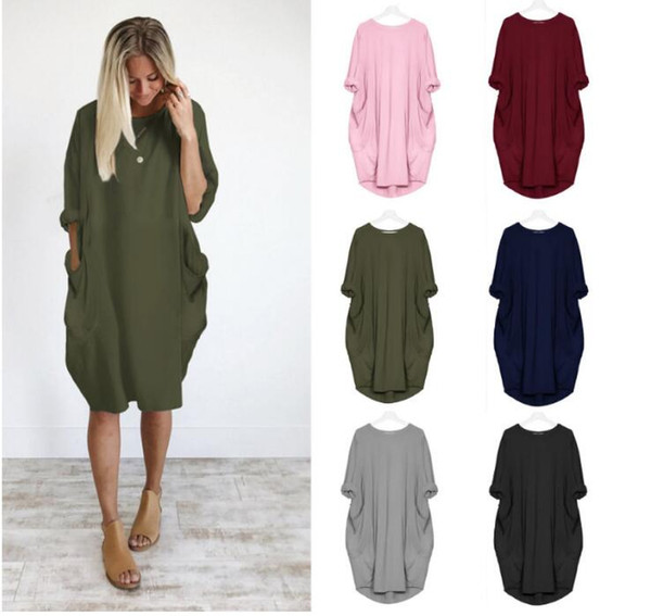 Autumn Womens dDresses Pocket Loose Dress Ladies Crew Neck Casual Long Girl Tops Dress Female Fashion Big Vestido