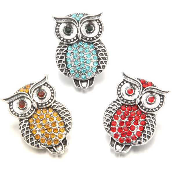 Noosa Chunks Metal Rhinestone owl Snap Buttons For 18mm Snap Button Necklace Bracelet For Women Snaps Jewelry
