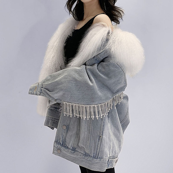 Nueva chaqueta de invierno Mujer 2019 Abrigo Demin cuello de piel real Cuentas pesadas Borla Abrigo femenino tallas grandes pakas femenino HHPC18