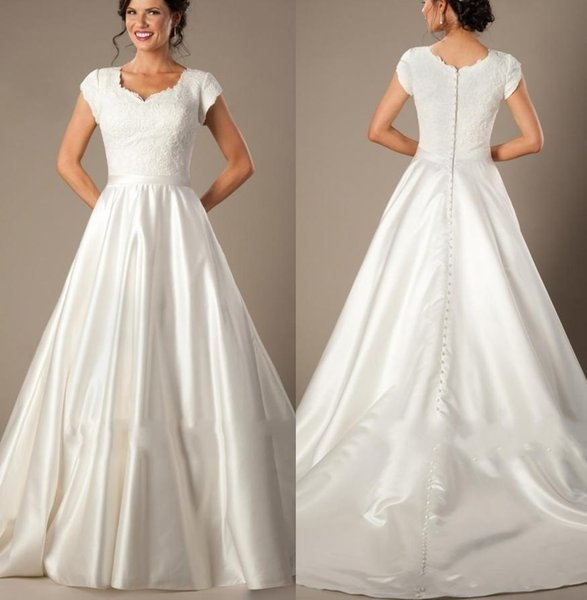 Vintage Modest A Line Wedding Dresses 2018 Sweetheart Cap Sleeves Lace Appliques Satin Buttons Back Sweep Train Simple Bridal Gowns Vestido