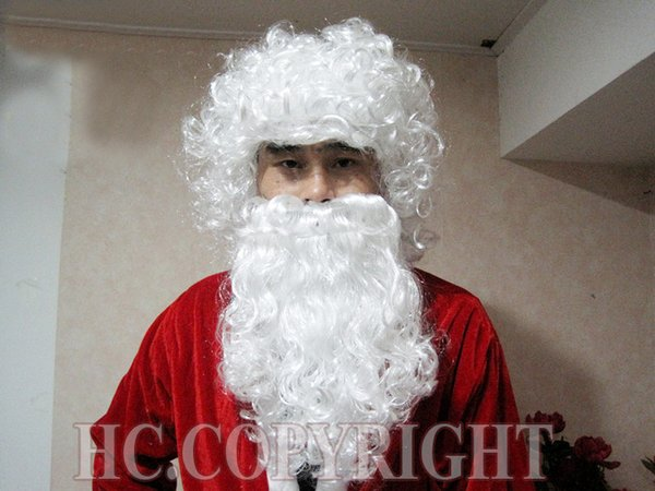 Christmas Xmas Funny SANTA CLAUS WHITE WIG & BEARD Wizard Man Fancy Dress For Xmas Anime queen Cosplay hair wigs Free deliver