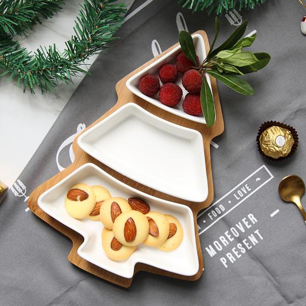Nordic Árbol de Navidad de Bambú Creativo Plato de Fruta Bandeja de vajilla Doméstica Platos de Postre de Cerámica Plato de Ensalada de Fruta Plato de aperitivos Decoración para el hogar
