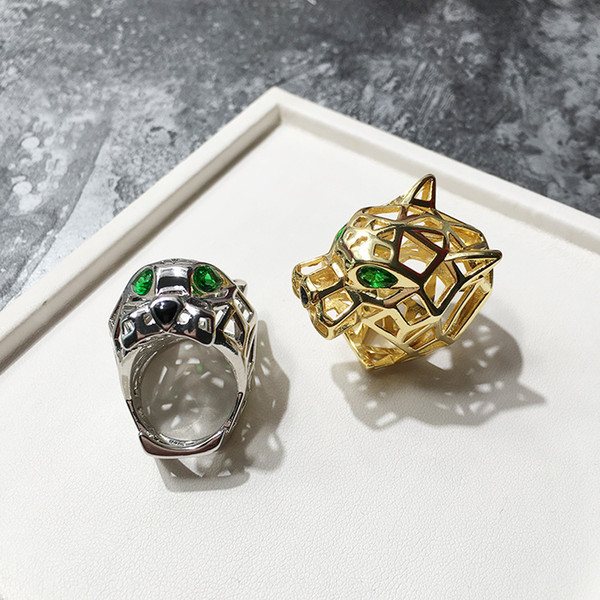 Hot-selling European and American fashion ring Beautiful copper-plated green-eyed tiger-eye leopard head opening couple ring Free Shipping