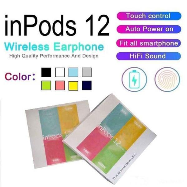 Inpods 12 Macaron Bluetooth наушники Bluetooth 5.0 беспроводная гарнитура сенсорное управление нау