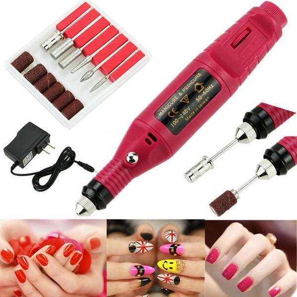 Manicure macchina elettrica Set Nail Art Polish Mini Drill Piatti penna Stampaggio di cura di Pedicure file cuticola gel acrilico del dispositivo di rimozione