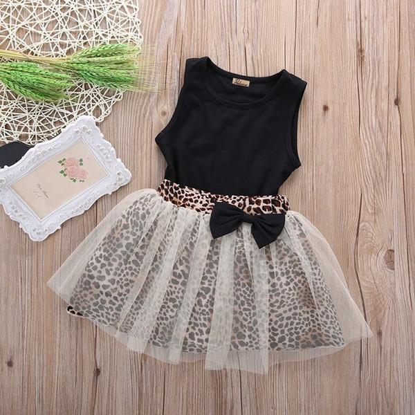 e1cbabc6c1b5 New Hot Kids Baby Girl dress Sleeveless Round Collar Top Leopard Print Mesh  Dress 2Pcs Suit