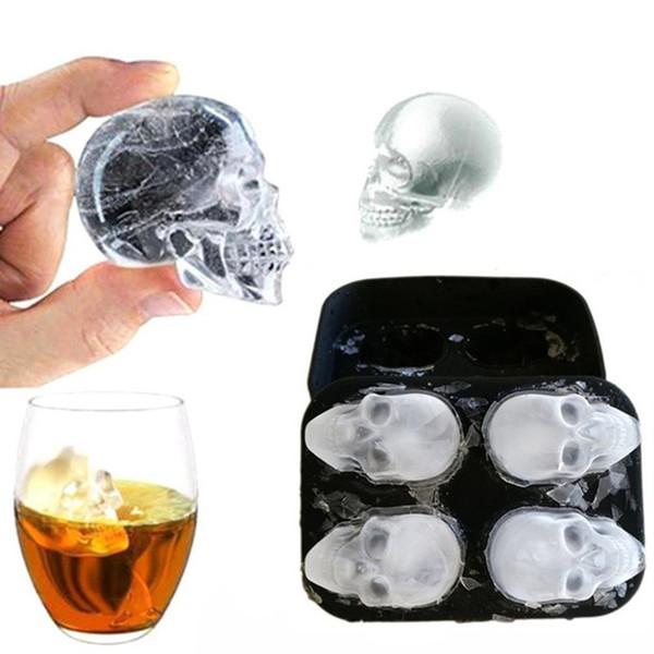 Eiswürfelbereiter Schädel-Form-Schokoladen-Form Eis DIY Werkzeug Whisky, Wein, Cocktail Ice Cube 3D Silikon