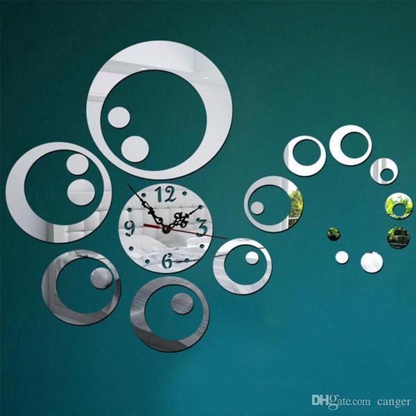 Toptan-Moda Daireler 3D Modern Ayna Duvar Saati Saatler Sticker Çıkartma Ev DIY Dekor relogio parede reloj de pared p20