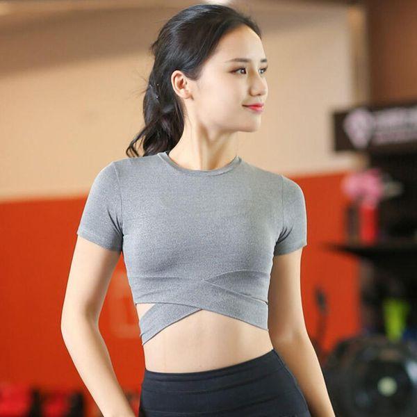 women sports yoga shirts fitness crop long sleeve solid running shirt sport jerseys gym clothes sportswear