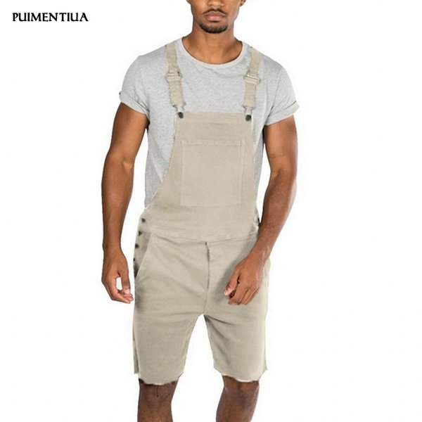 Puimentiua 2019 Mens Bib Overall Shorts Lightweight Casual Loose Fit Walkshort Jumpsuit Button Denim Rompers Male Summer Solid