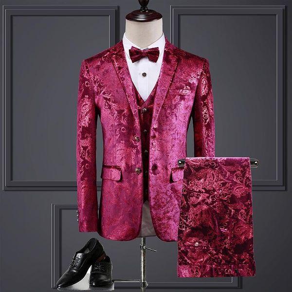 (Jacket + Vest + Pants) High-End-Velveteen Mode Marke Brautkleid Bühne Herrenanzug 3 Stück Set Luxus Sozial Male Red Suit