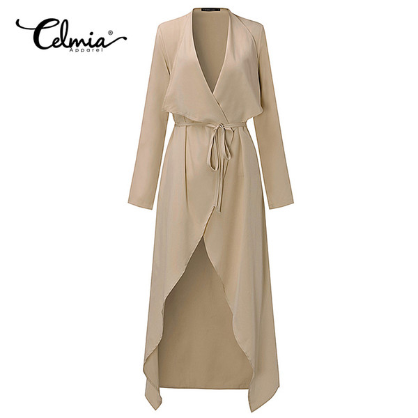 Plus Size S-3xl Women Ladies Casual Sleeve Slim Fit Thin Waterfall Long Belted Cardigan Duster Coat Jacket Overalls Outwear C19041001