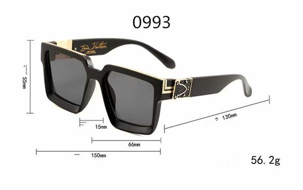 Lüks MILLIONAIRE Erkekler için güneş gözlüğü tam çerçeve Vintage tasarımcı 1165 erkekler için 1.1 güneş gözlüğü Parlak Altın Logo Sıcak satmak Altın kaplama Üst 0993