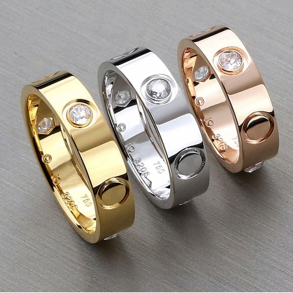 316L Titanium steel nails rings lovers Band Rings Size for Women and Men brand jewelry silver rose gold love ring NO original box
