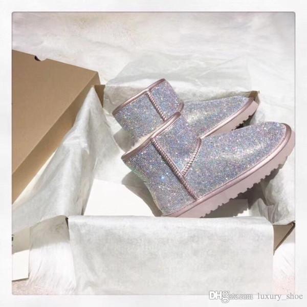 2019 Designer stivali di moda di lusso del progettista delle donne Stivali Stivaletti Neve Stivali di pelle di pecora Treadlite Dopo sci con la scatola