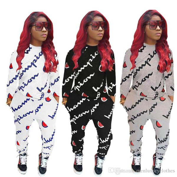 Marca de moda Conjuntos de ropa para mujer Otoño O-cuello Letras Impreso Sudaderas con capucha Pantalones Chándales BIG C Juegos de impresión