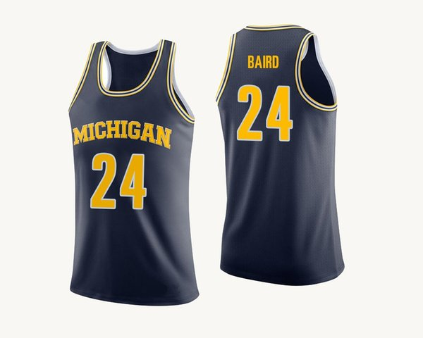 C.J. Baird Men's Yellow Michigan Wolverines David DeJulius White Duncan Robinson Navy Blue Stitched College Basketball Jersey