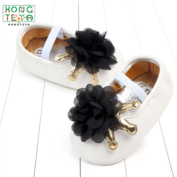 Newborn PU Leather Big Flower Floral baby moccasins Crown Princess baby girls shoes Soft Soled Anti-slip Shoes