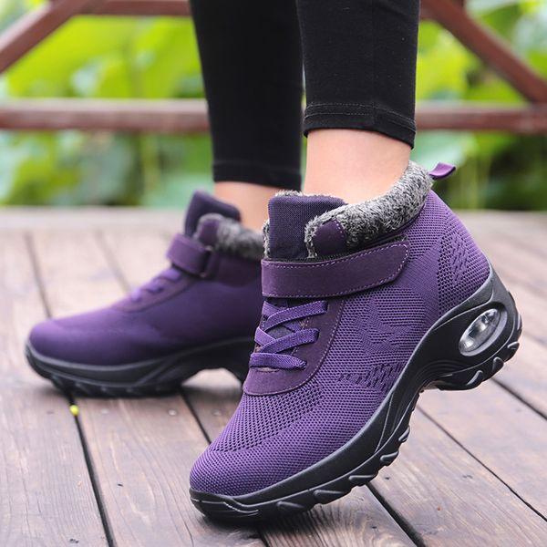 Peluche Hiver Chaussures De Course Femmes Violet Hauteur Augmentant Sneakers Coussin Semelle Épaisse Neige Bottes Chaud En Plein Air Chaussures De Marche