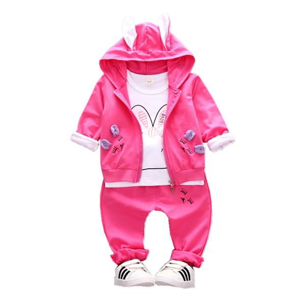2019 Autumn Children Girls Cotton Garment Baby Cartoon Rabbit Shape Hoodies Coat T-shirt Pants 3Pcs/Set Kid Clothing Tracksuit