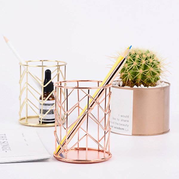 New Arrival Hollow out Makeup Brush Pot Holder Organizer Iron Round Practical Pen Pencil Cup Stationery Container