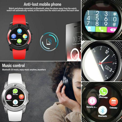 V8 Smart Watch Hombres Mujeres Bluetooth Señoras Relogio Smartwatch Con Cámara Sim Ranura Para Tarjeta Relojes Deportivos Impermeables PK DZ09 Y1 A1
