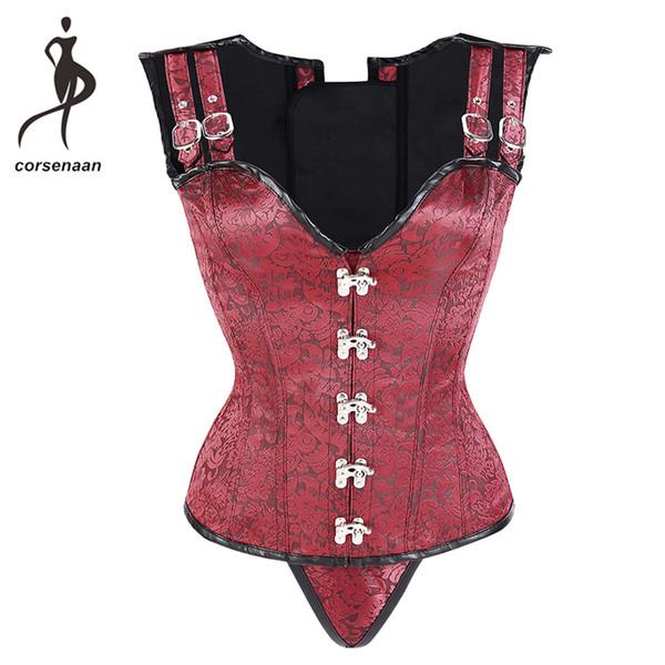 Jakarlı Kadınlar Steampunk Giyim Çelik Kemikli Vücut Shapewear Yelek Overbust Korse Büstiyer Ile G Dize 811 #