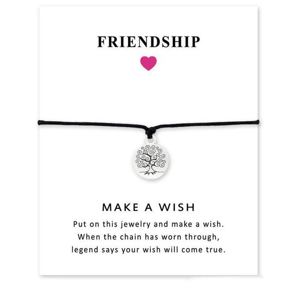 Tree Of Life Love Pulseras hechas a mano de cuerda para mujeres Hombres Declaración de amistad Joyería de deseo infinito con tarjeta