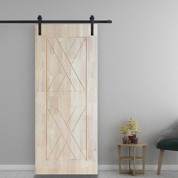 Grosse porte coulissante en bois robuste pour porte coulissante 6FT - Kit de quincaillerie de rail de rail coulissant ultra-doux pour roues de poulie