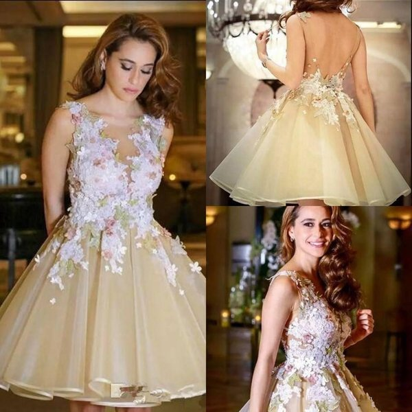 Sweet organza Short Prom Dresses Open Back Light Yellow 2019 Sheer Neck Lace Applique Knee Length Princess Homecoming Dress Party Wear