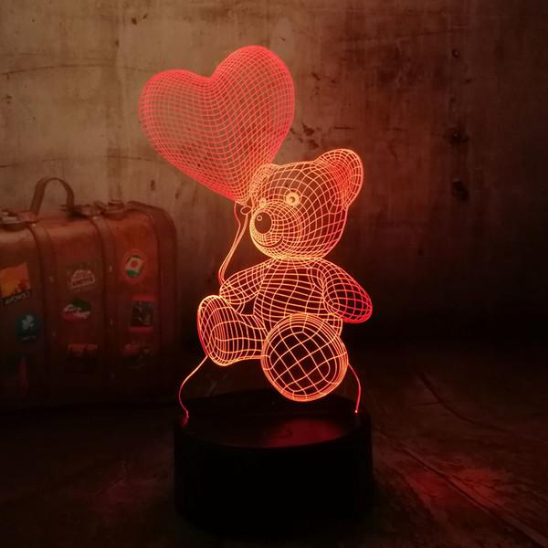 Carino Nuovo 2019 bambino Orsacchiotto attesa di amore del cuore Balloon 7 cambiamento di colore della lampada della Tabella 3d regalo di Natale ha condotto la luce della decorazione per i bambini Q190611