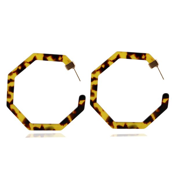 Hot Sale Acetate Acrylic alloy Geometric Earrings Worn Gold Plating Leopard Tortoise Shell Circle Disc Earrings with Metal Bar