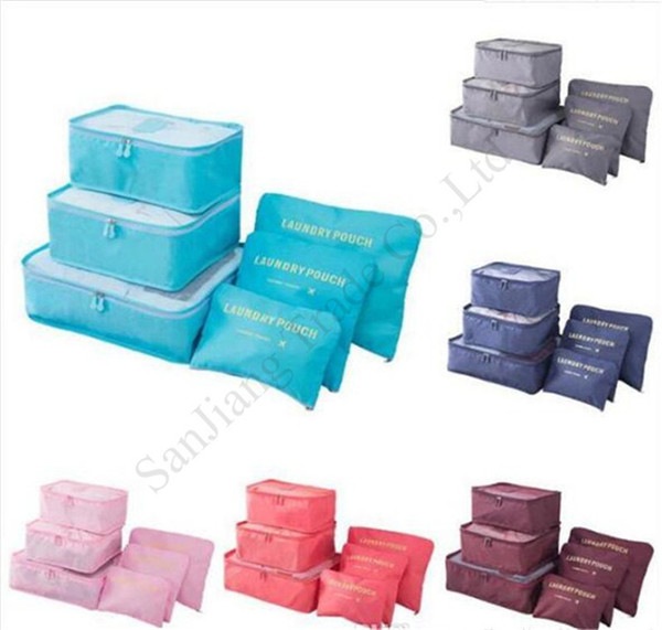 Bag storage 6 collega gli insiemi di doppia cerniera Protable Abbigliamento Viaggi bagagli borse Abbigliamento Sundries pacchetto dell'organizzatore dei sacchetti di colore solido caldo E11304