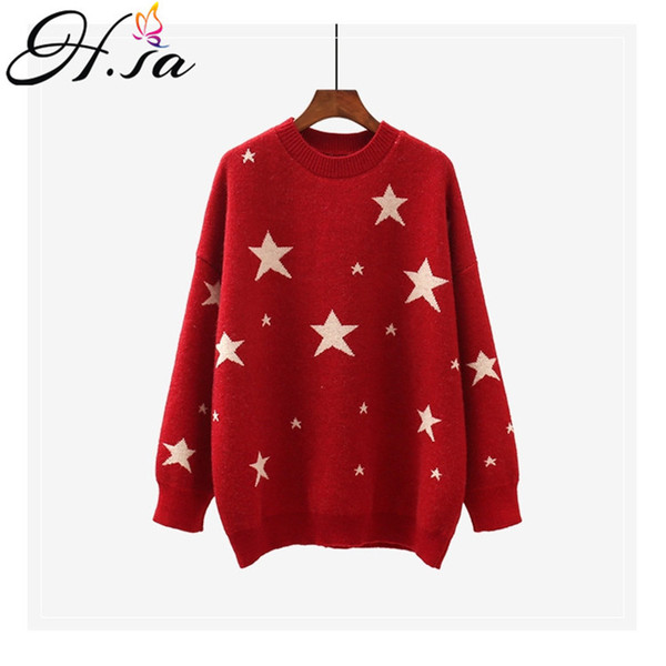 H.SA Women Long Pullovers and Sweater 2019 Spring Jumpers Oversized Stars Sweaters Loose Casual Tops Sweet Knit Pull Femme