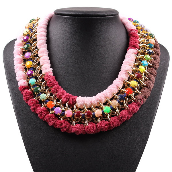 Fashion Colorful Resin Gold Chain String Statement Collar Choker Necklace for Ladies 2018 New Latest Model Jewelry