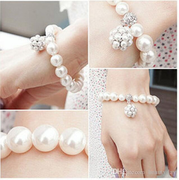 2018 New Korean Style Women Stretch Bangle Faux Pearls Bracelet For Girl Prom Cocktail Homecoming Party Evening Silver And Gold Gift Cheap
