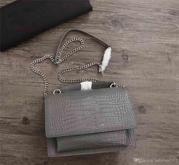 2019 Bolso de hombro único para mujer diseñadora superventas para mujer, bolso inclinado de cuero original, bolso con estampado de cocodrilo 24 * 18 * 7 cm