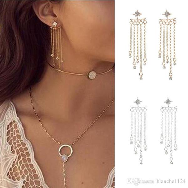 Estilo popular Pendientes de estrellas de cristal para las mujeres Brillante Borla de diamante Cuelga Araña Oreja Cuff Pendientes de joyería de plata esterlina de oro Pendientes