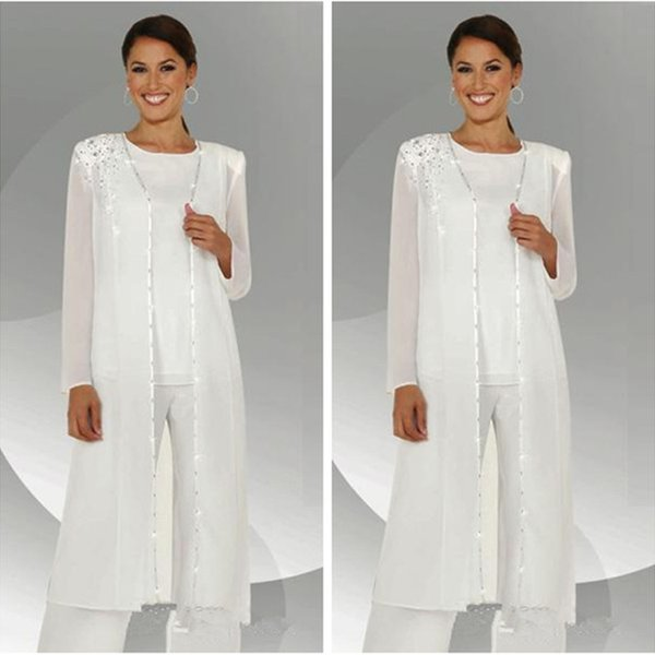 White Chiffon Mother of the Bride Pant Suits 3 Pieces Jewel Neck Sequins Beaded Women Clothes Elegant Formal Wear