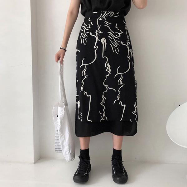 Falda midi 2 colores 2019 estampado estilo coreano faldas de gasa de cintura alta para mujer una línea faldas largas para mujer (X542)