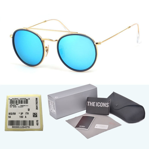 Top quality brand designer Steampunk sunglasses men women Retail Alloy frame Mirror glass lens Oculos De Sol with cases and box