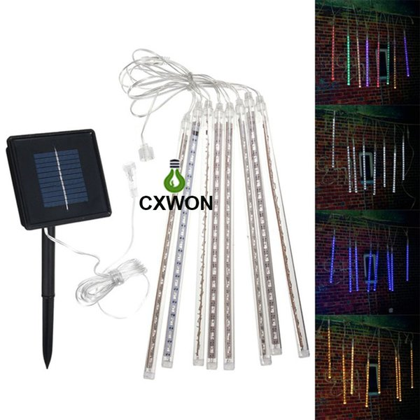 30CM 144LED Solar LED Meteor Shower Rain Tube Christmas Solar String Light Wedding Party Garden Outdoor Holiday Light Strip